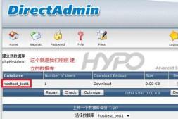 DirectAdmin:如何管理数据库