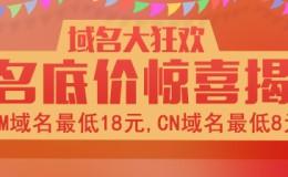 域名优惠 COM 18 CN8块